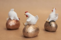 Three Hens on Eggs in Metallic