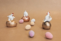 Happy Hens with Easter Eggs