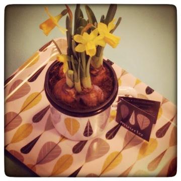 Yellow Leaves Mug and Tray,