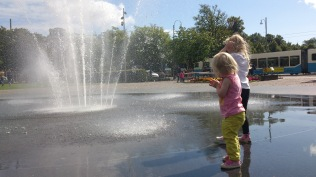 Outside Trädgrårn in Gothenburg. Water is great fun